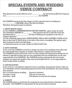 catering contract sample wedding venue contract agreement