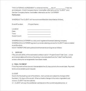 catering contract template best catering contract proposal template