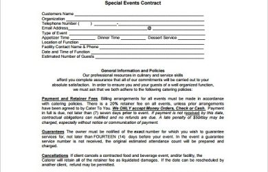 catering contract template catering contract template