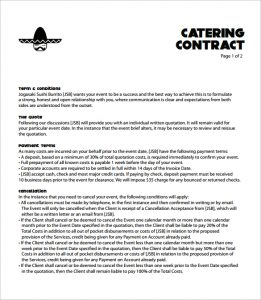 Catering contract template template business for Catering contracts templates