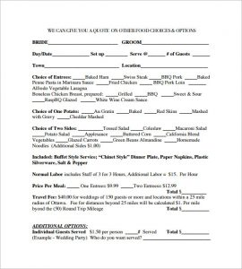 catering contract template free download wedding catering contract template