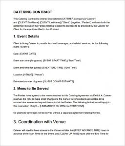 catering contract template premium catering contract template in pdf