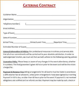 catering contracts template catering contract template free catering contract pdf