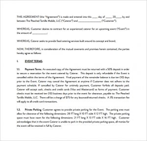 catering contracts template sample catering contract pdf template free download