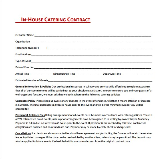 catering contract agreement template - Boat.jeremyeaton.co