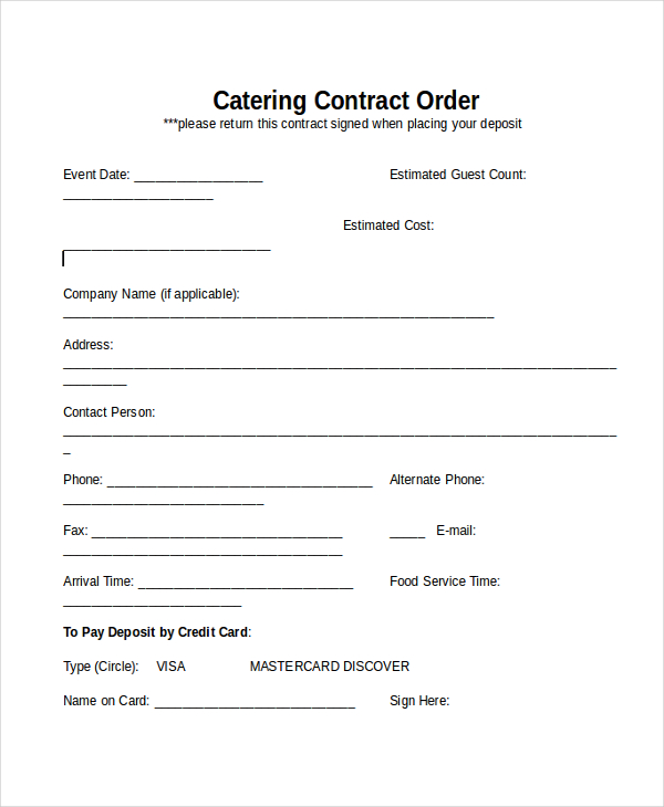 catering contracts templates