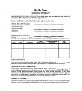 catering contracts templates standard catering contract pdf template free download
