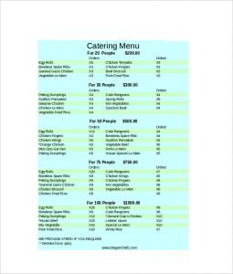 catering menu template catering menu excel format template download