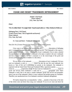 cease and desist letter trademark infringement cease and desist letter