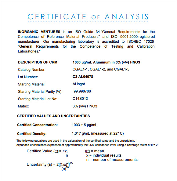 Certificate Of Analysis Template Business - Certificate of analysis template