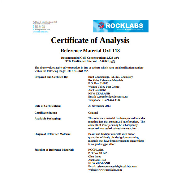 Certificate of analysis template business yelopaper Images