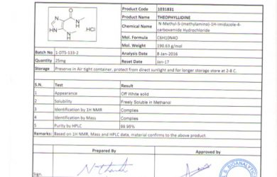 certificate of analysis certificate of analysis theophyllidine