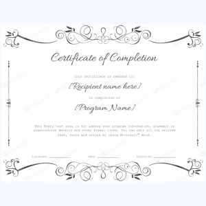 certificate of completion template word free customizable certificate of completion