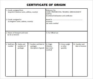 certificate of origin template origin certificate sample