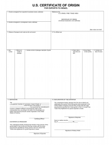 certificate of origin template printable certificate of origin template