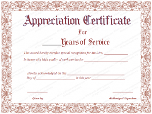 certificate of service template appreciation certificate for years of service fr