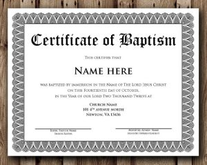 certificate template word baptism certificate word editable template