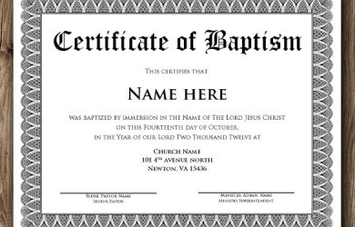 certificate template word baptism certificate word editable template