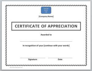 certificate template word certificate of appreciation