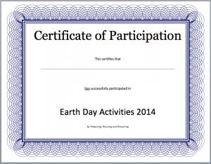 certificate template word participation certificate template