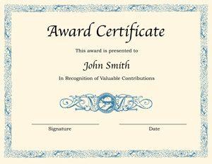 certificate template word printable award certificate template word