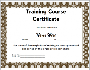 certificate template word training certificate template