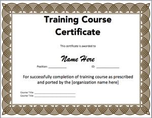 certificate template word training certificate template