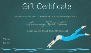 certificate templates free download dive in swimming club gift certificate template
