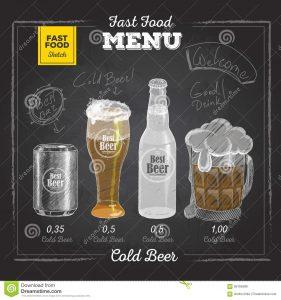 chalk board menu vintage chalk drawing fast food menu cold beer sketch