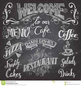 chalk lettering font cafe chalkboard hand lettering set drawn cafes restaurants background