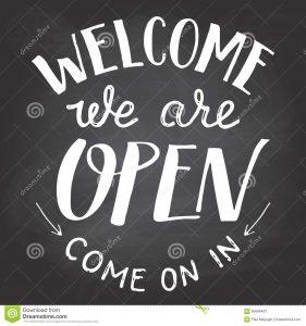 chalk lettering font welcome open chalkboard sign cafes shop visitors blackboard background chalk hand lettering