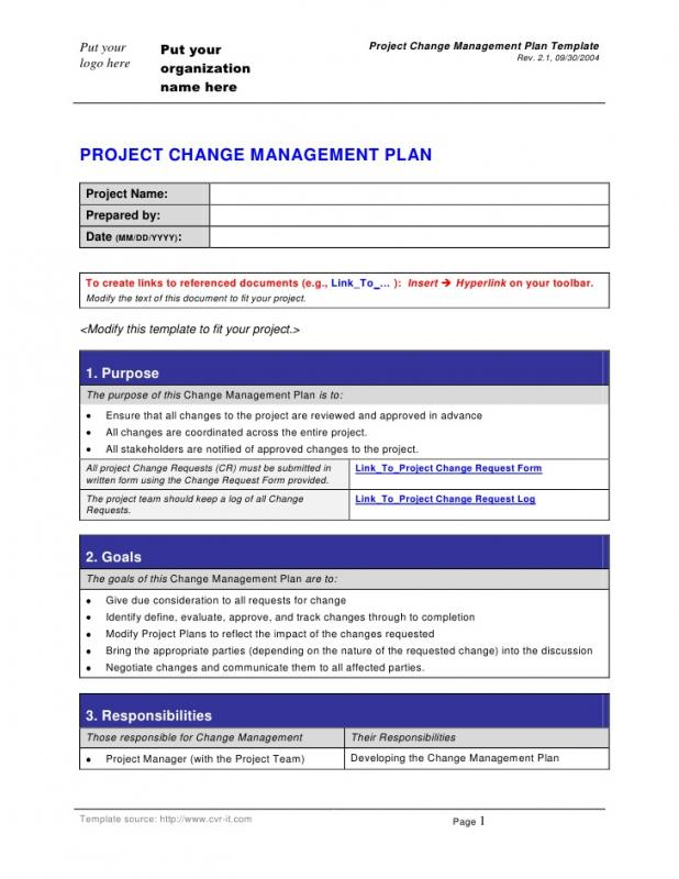change management planning template