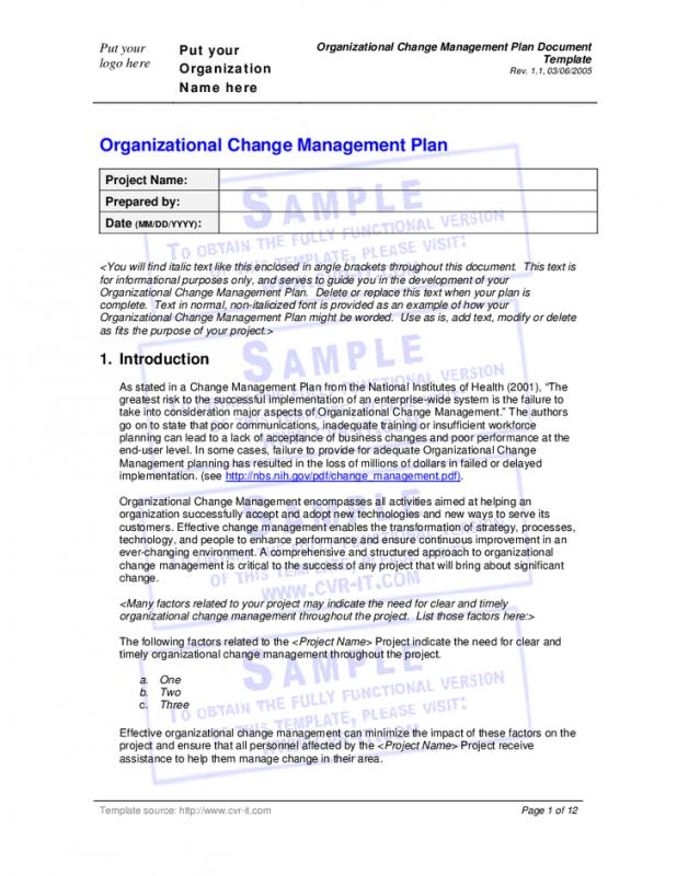 Change Management Planning Template  Template Business