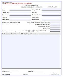 change order form construction contract change order form