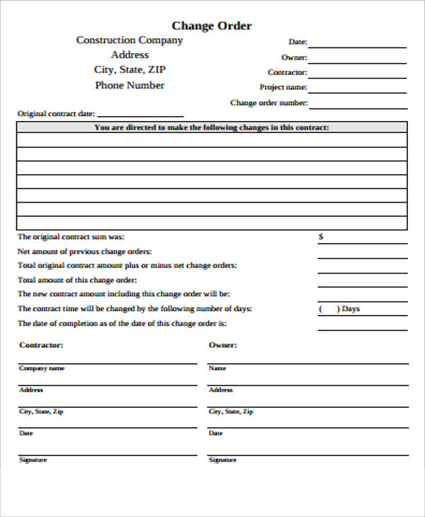 Change Order Form  Template Business