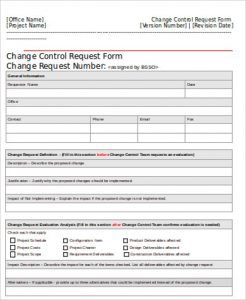 Change Order Form Template Change Control Request Form Free  Order Form Template Free