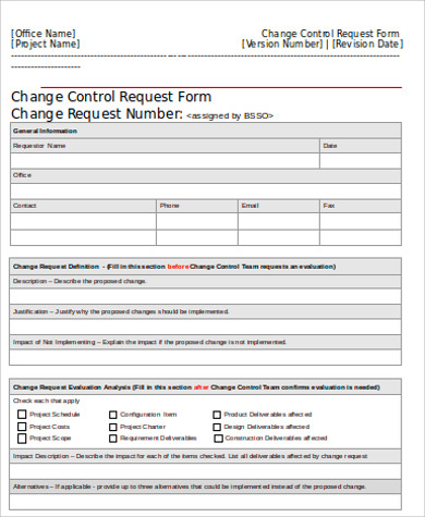 Change order form template template business for Change management process document template