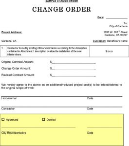 change order template change order sample