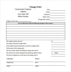change order template change order template