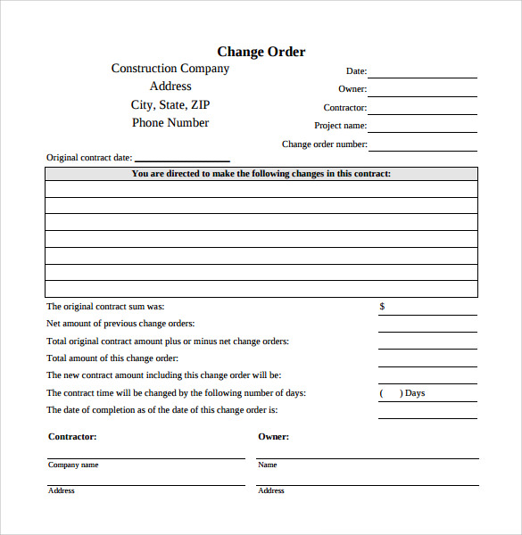 Change Order Template | Template Business