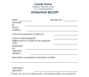 charitable donation letter template charity donation receipt