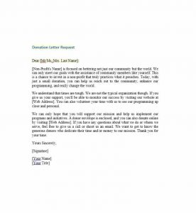 charitable donation letter template donation request letter