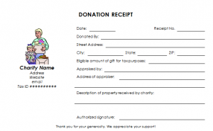 charitable donation receipt charitable donation receipt template