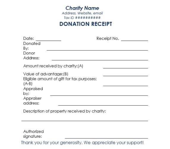 charitable donation receipt