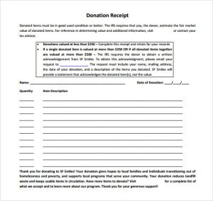 charitable donation receipt template non profit donation receipt template