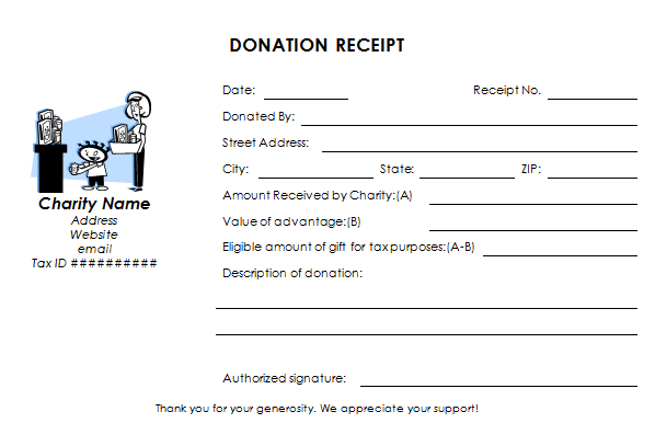 charitable donation receipt template