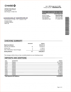 chase bank statements chase bank statement template