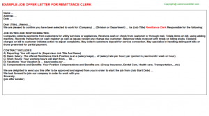 check stubs template remittance clerk offer letter