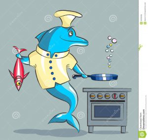 chef business cards dolphin cook smiling kitchen uniform prepares fish