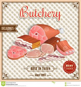 chef business cards retro meat poster label best choice butchery squared background vector illustration